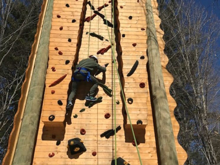 Student on the climbing tower