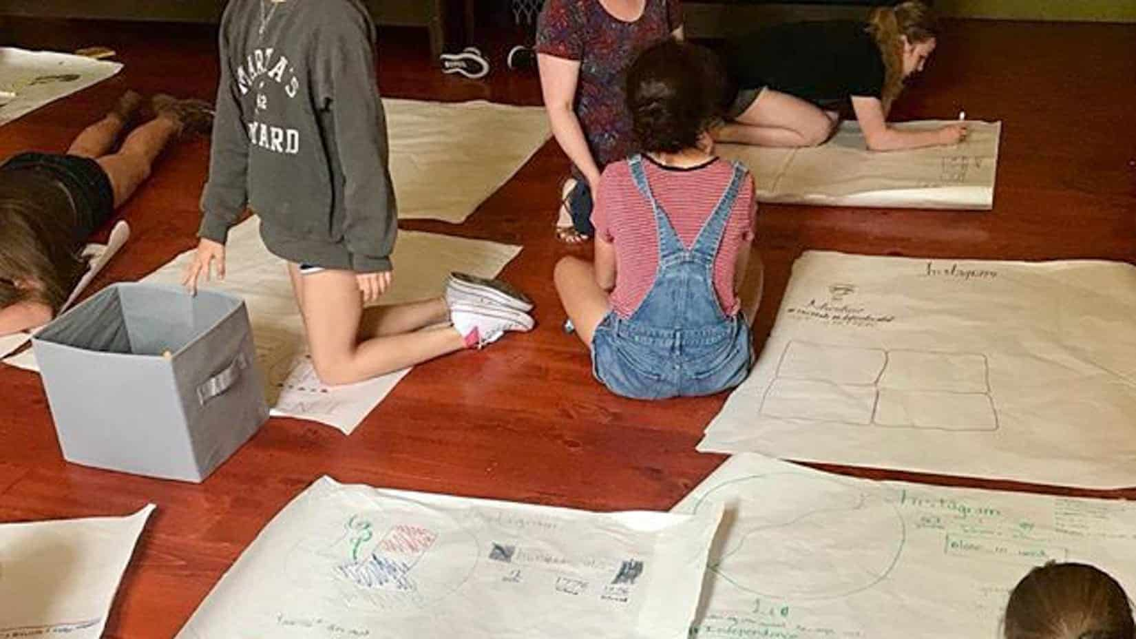 Students in expressive arts class drawing on posters